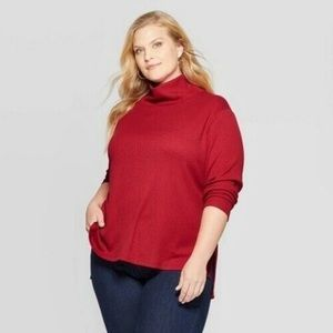 Ava & Viv mock turtle neck flowing tunic style top